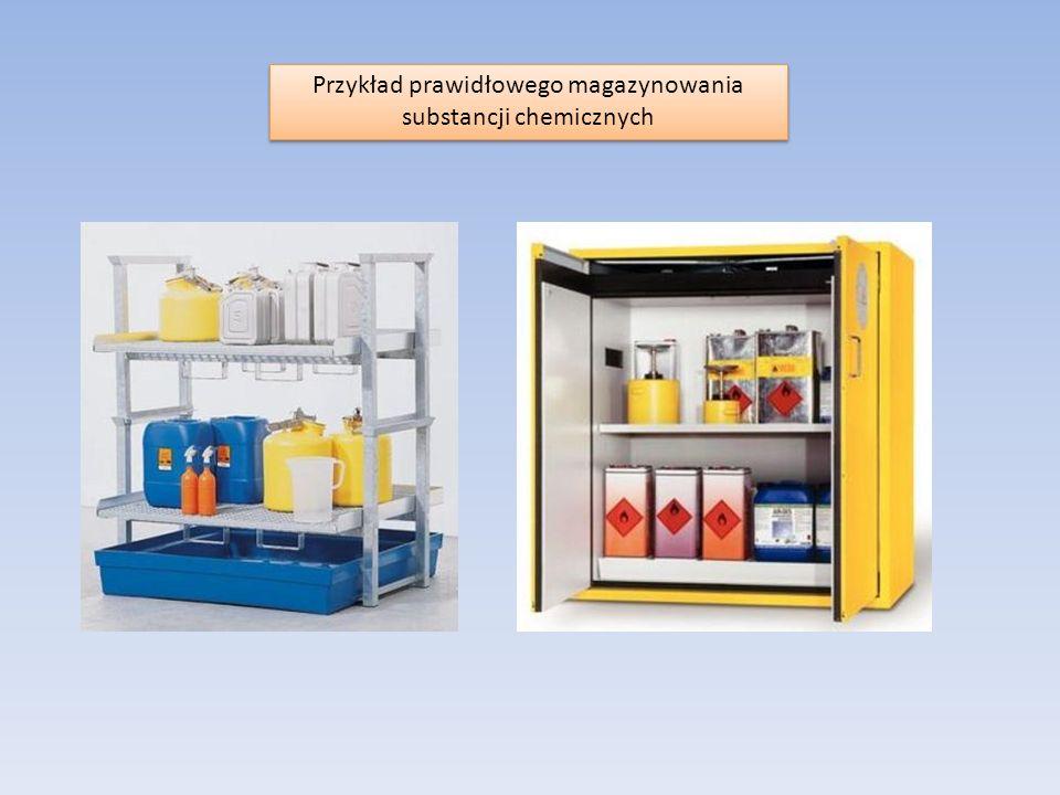 Przykład prawidłowego magazynowania substancji chemicznych