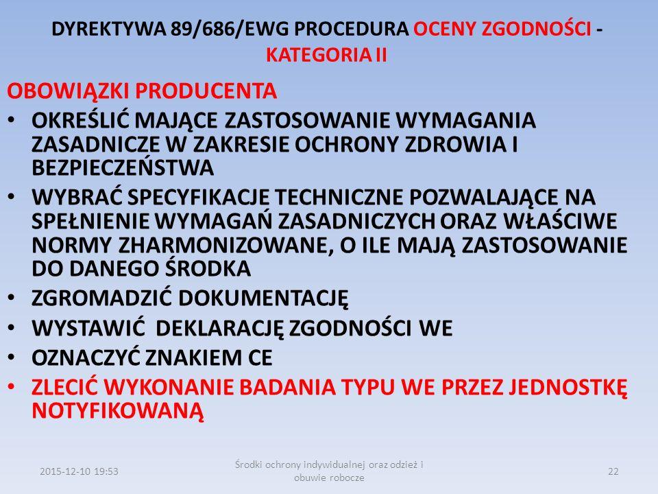 DYREKTYWA 89/686/EWG PROCEDURA OCENY ZGODNOŚCI - KATEGORIA II