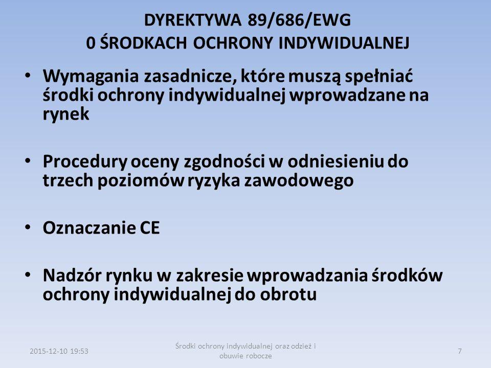 DYREKTYWA 89/686/EWG 0 ŚRODKACH OCHRONY INDYWIDUALNEJ