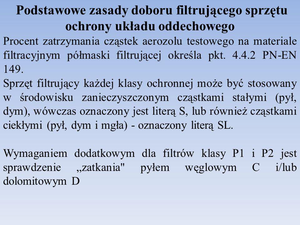 Podstawowe zasady doboru filtrującego sprzętu ochrony układu oddechowego
