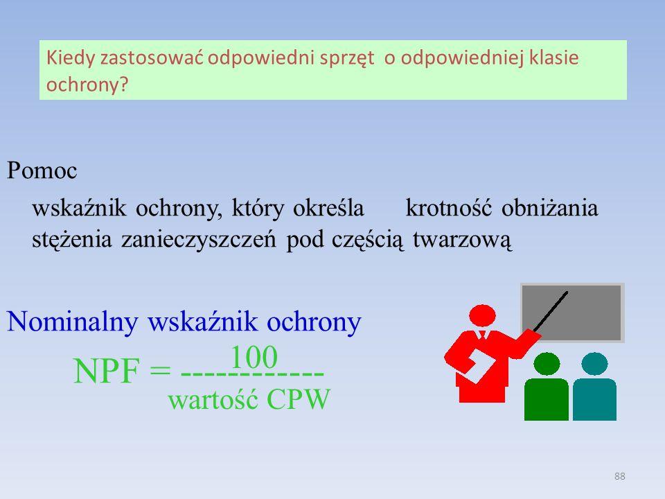 100 Nominalny wskaźnik ochrony NPF = ------------ wartość CPW Pomoc