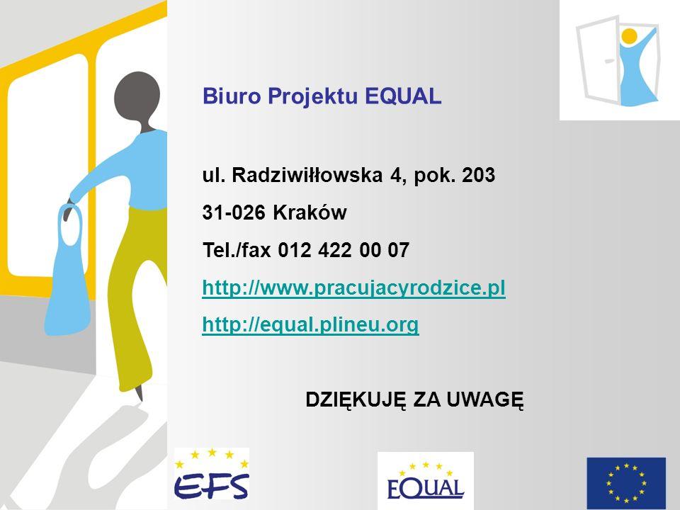 Biuro Projektu EQUAL ul. Radziwiłłowska 4, pok. 203 31-026 Kraków