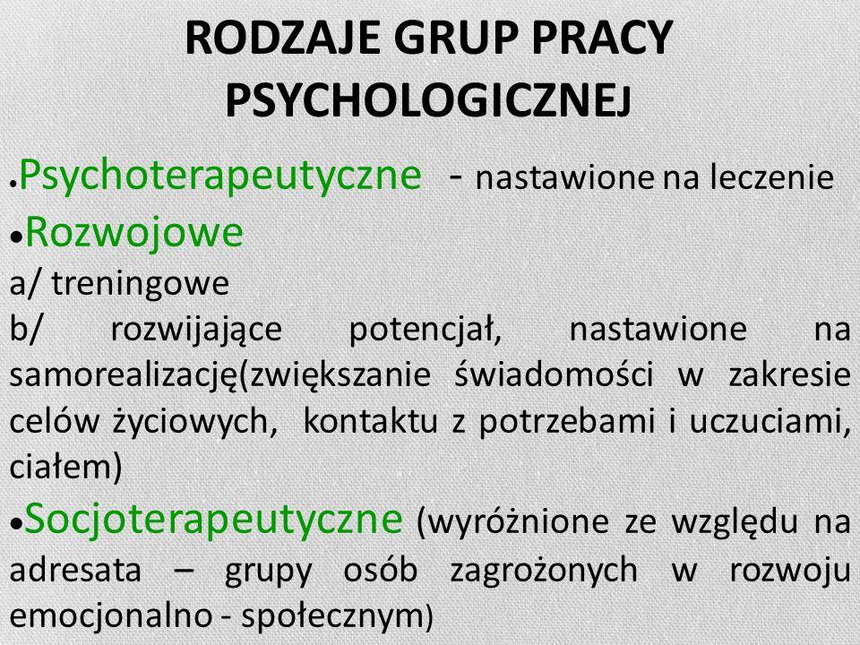 RODZAJE GRUP PRACY PSYCHOLOGICZNEJ