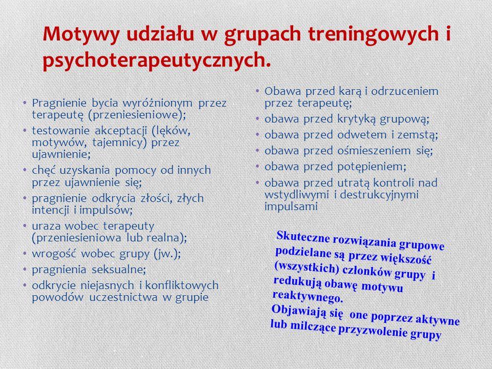 Motywy udziału w grupach treningowych i psychoterapeutycznych.