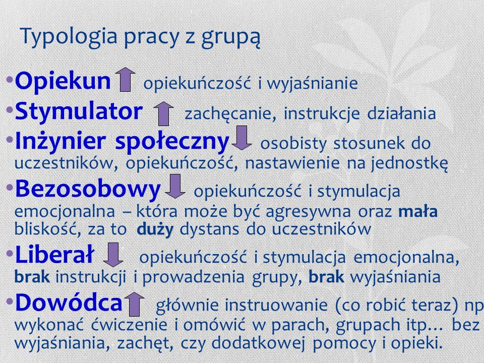 Typologia pracy z grupą