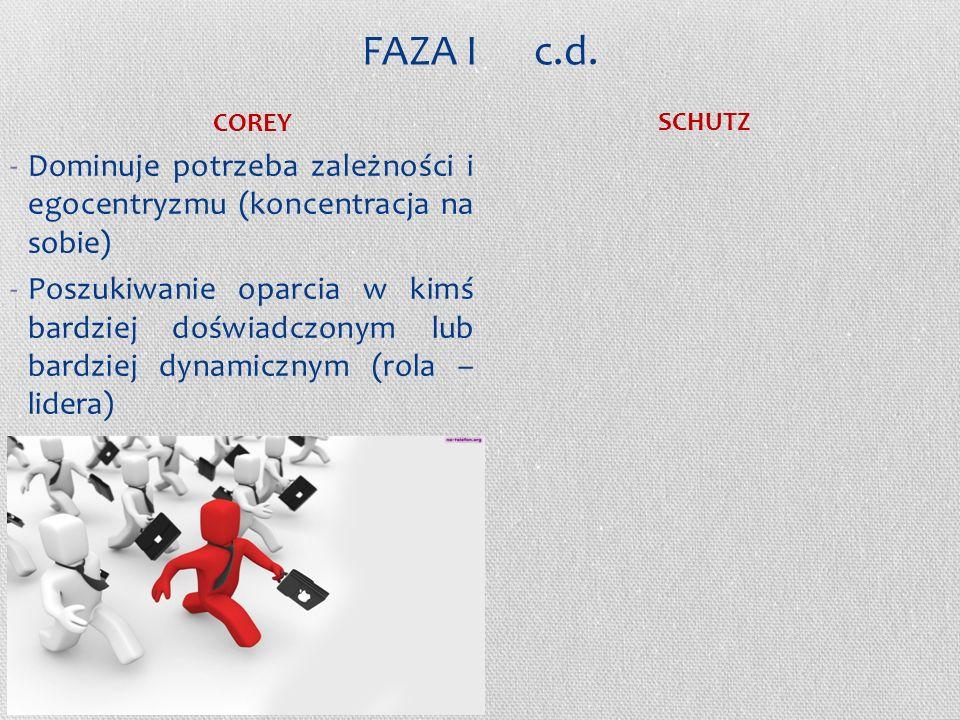 FAZA I c.d. COREY. SCHUTZ. Dominuje potrzeba zależności i egocentryzmu (koncentracja na sobie)