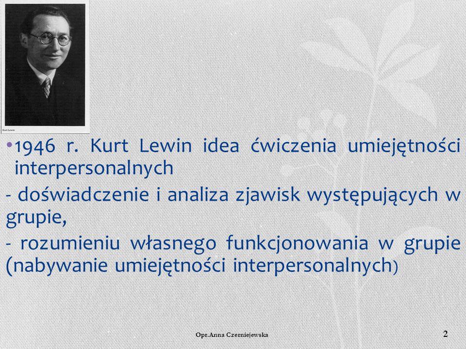 1946 r. Kurt Lewin idea ćwiczenia umiejętności interpersonalnych