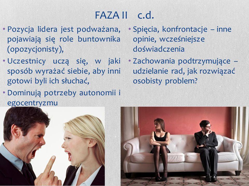 FAZA II c.d. Pozycja lidera jest podważana, pojawiają się role buntownika (opozycjonisty),