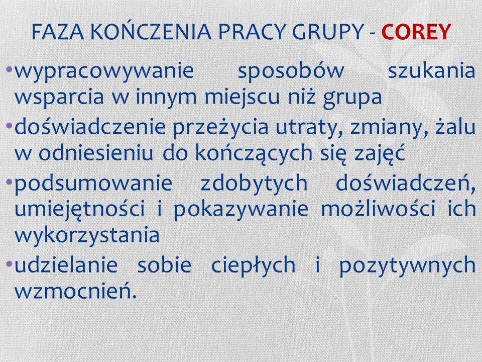 FAZA KOŃCZENIA PRACY GRUPY - COREY