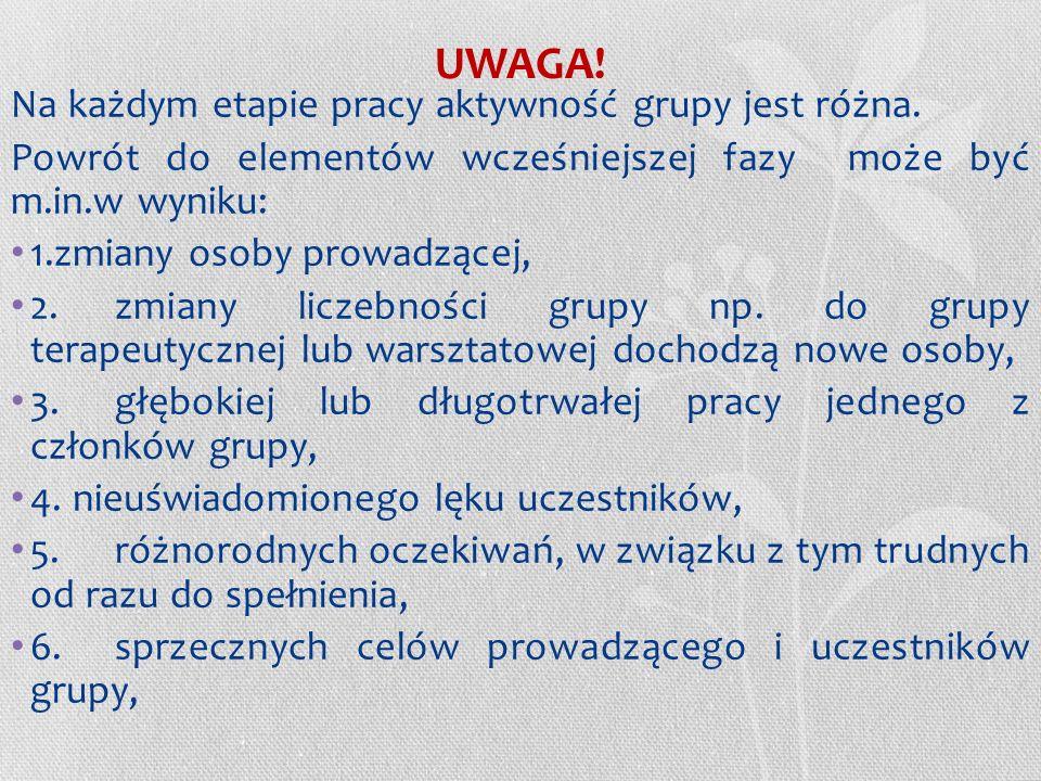 UWAGA! Na każdym etapie pracy aktywność grupy jest różna.