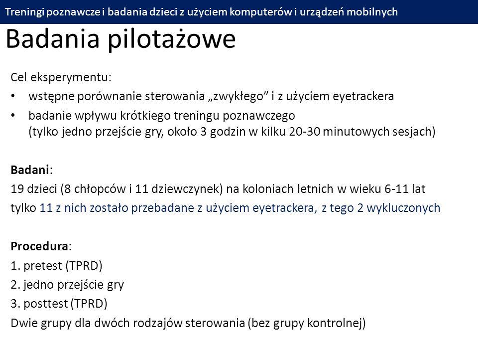 Badania pilotażowe Cel eksperymentu: