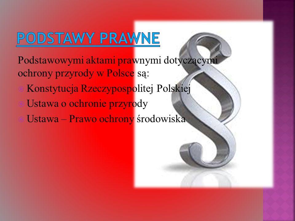 PODSTAWY PRAWNE Podstawowymi aktami prawnymi dotyczącymi ochrony przyrody w Polsce są: Konstytucja Rzeczypospolitej Polskiej.