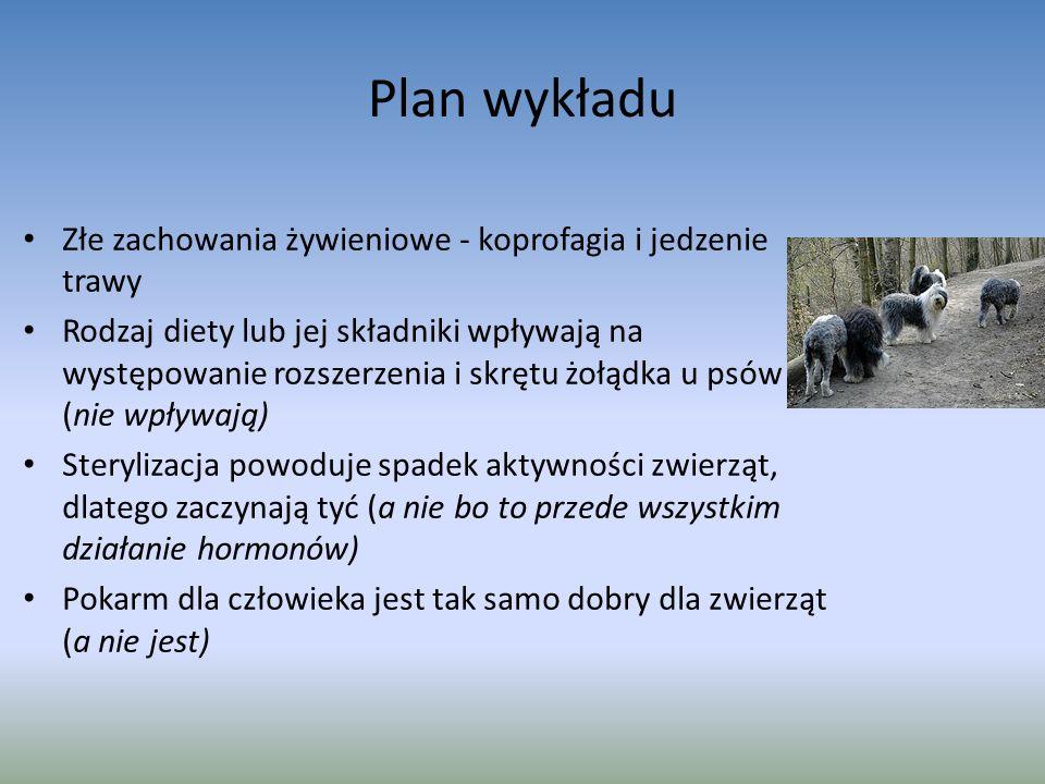 Plan wykładu Złe zachowania żywieniowe - koprofagia i jedzenie trawy