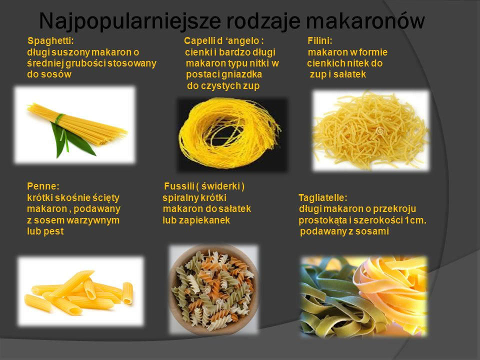 Najpopularniejsze rodzaje makaronów