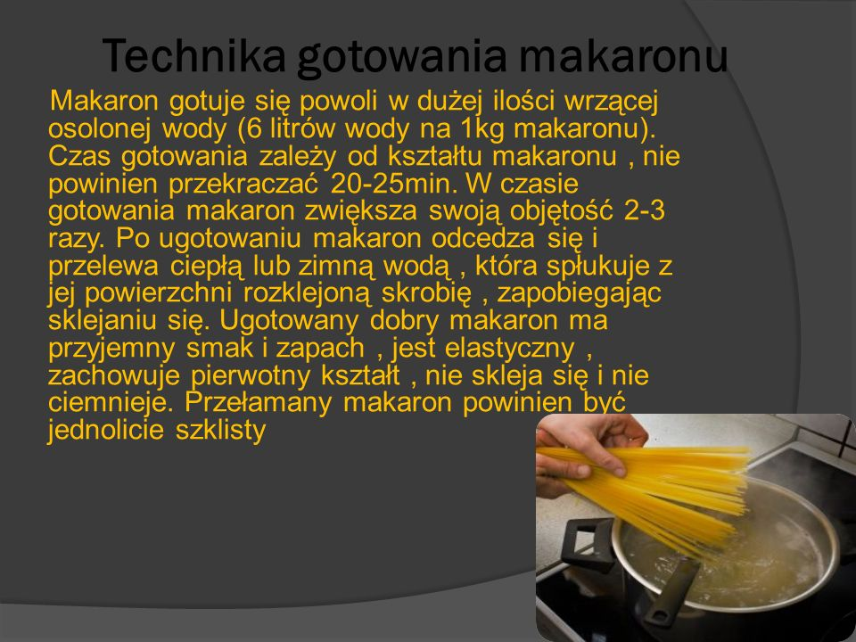 Technika gotowania makaronu