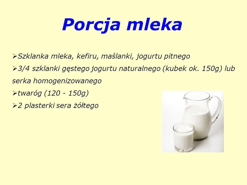 Porcja mleka Szklanka mleka, kefiru, maślanki, jogurtu pitnego