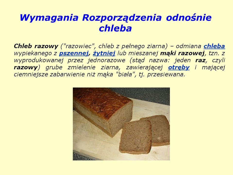 Wymagania Rozporządzenia odnośnie chleba