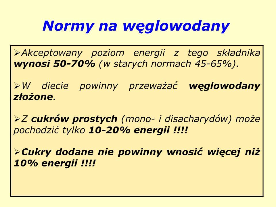 Normy na węglowodany Akceptowany poziom energii z tego składnika wynosi 50-70% (w starych normach 45-65%).