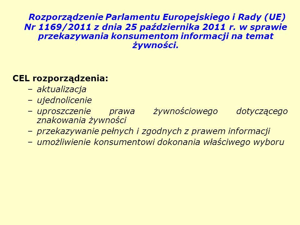 Rozporządzenie Parlamentu Europejskiego i Rady (UE) Nr 1169/2011 z dnia 25 października 2011 r. w sprawie przekazywania konsumentom informacji na temat żywności.