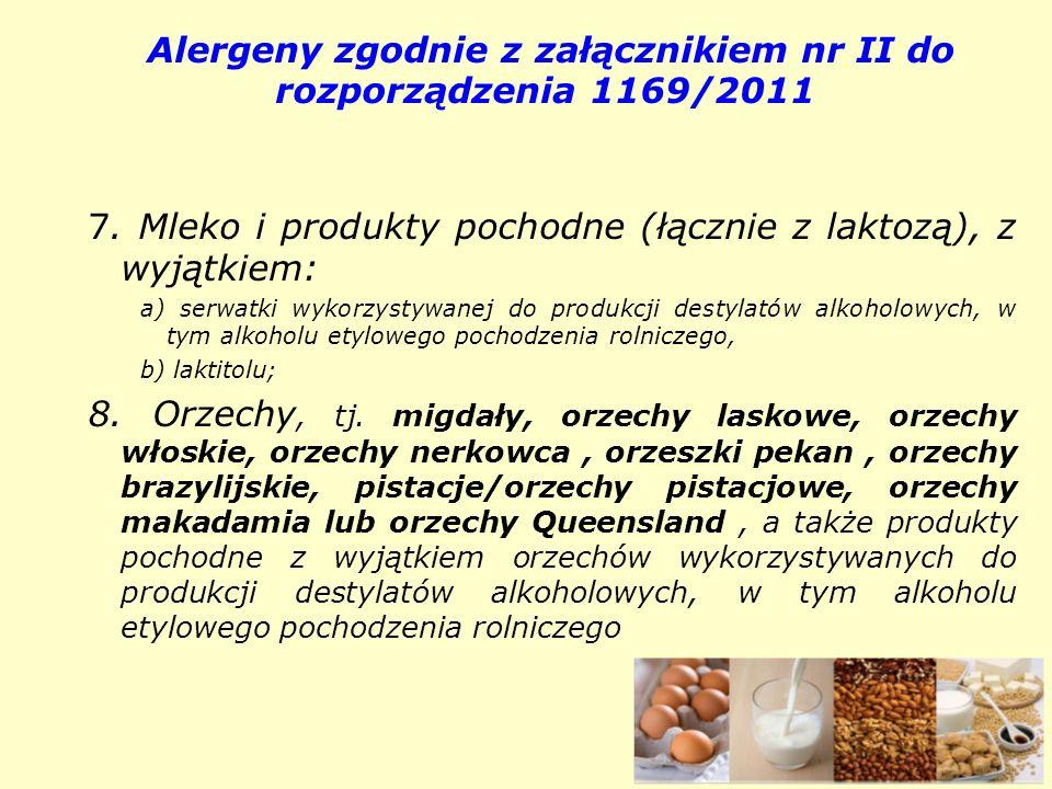 Alergeny zgodnie z załącznikiem nr II do rozporządzenia 1169/2011