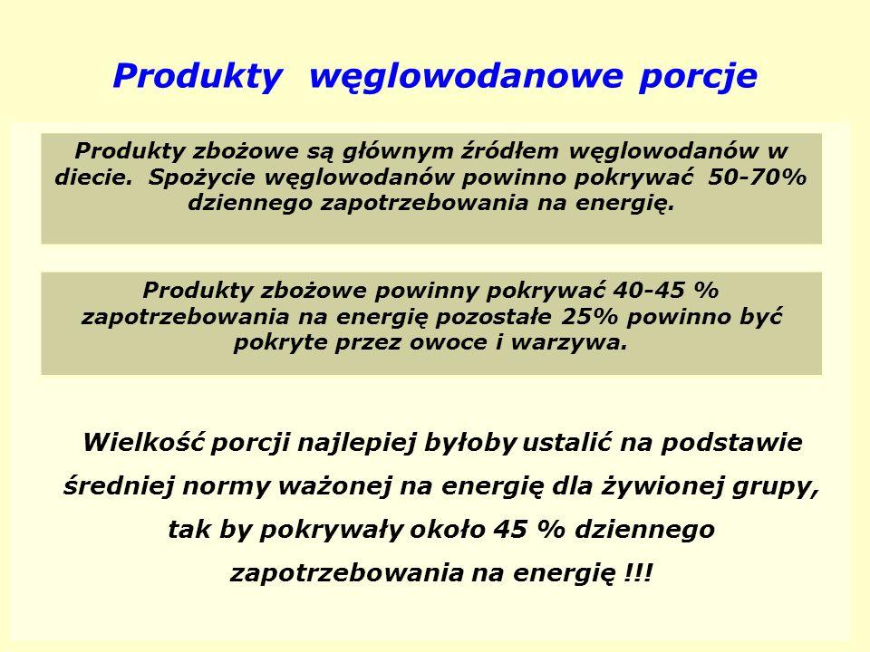 Produkty węglowodanowe porcje