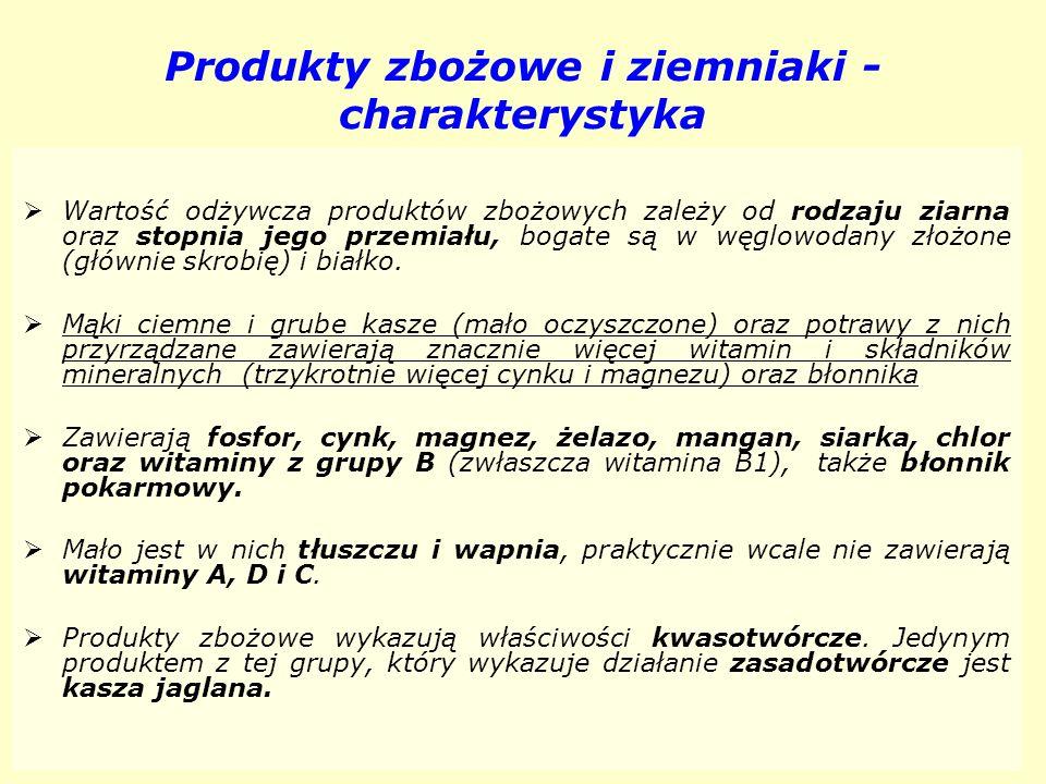 Produkty zbożowe i ziemniaki - charakterystyka