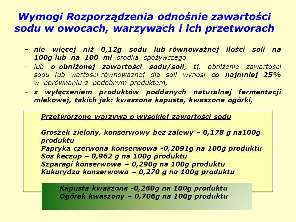 Wymogi Rozporządzenia odnośnie zawartości sodu w owocach, warzywach i ich przetworach