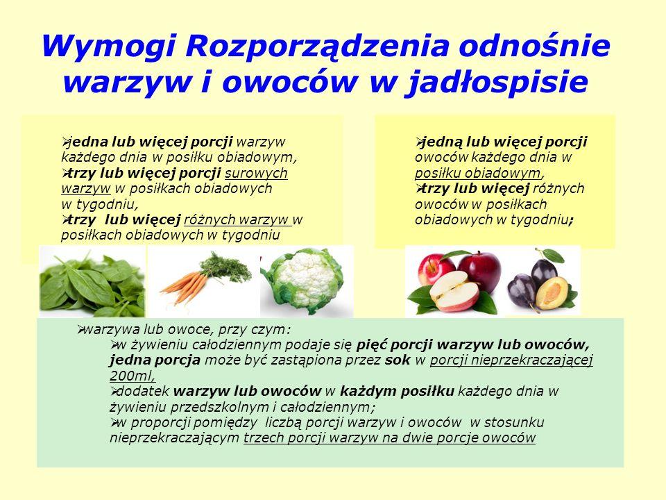 Wymogi Rozporządzenia odnośnie warzyw i owoców w jadłospisie