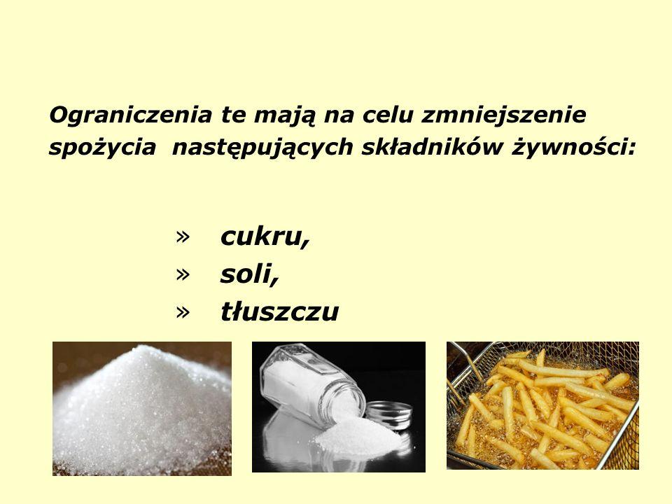 cukru, soli, tłuszczu Ograniczenia te mają na celu zmniejszenie