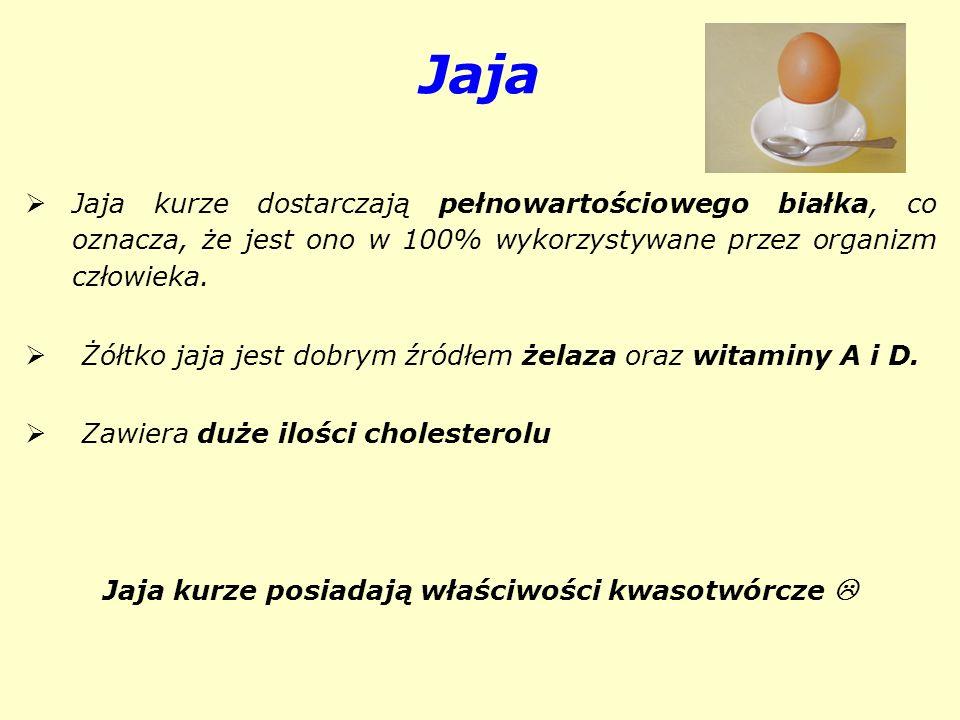 Jaja kurze posiadają właściwości kwasotwórcze 