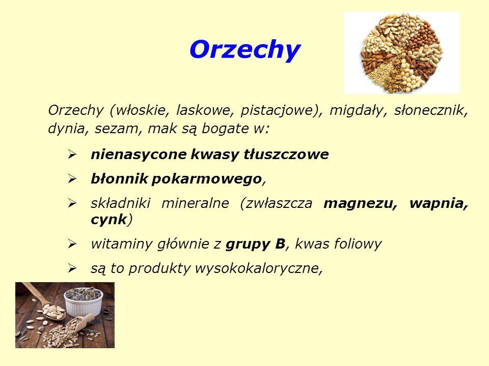 Orzechy Orzechy (włoskie, laskowe, pistacjowe), migdały, słonecznik, dynia, sezam, mak są bogate w: