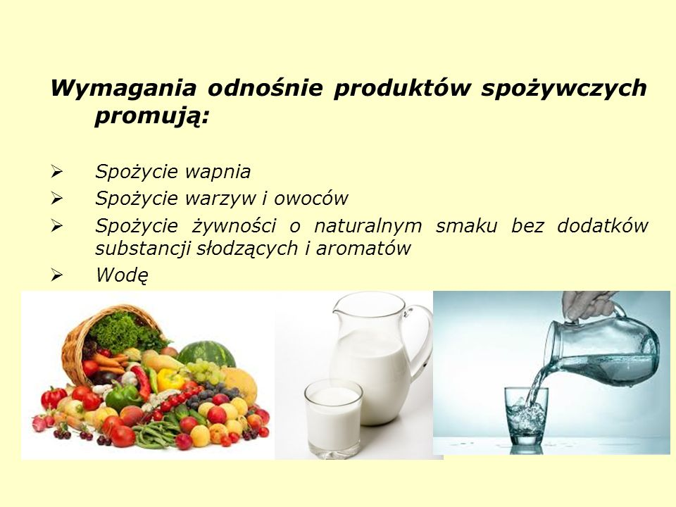 Wymagania odnośnie produktów spożywczych promują: