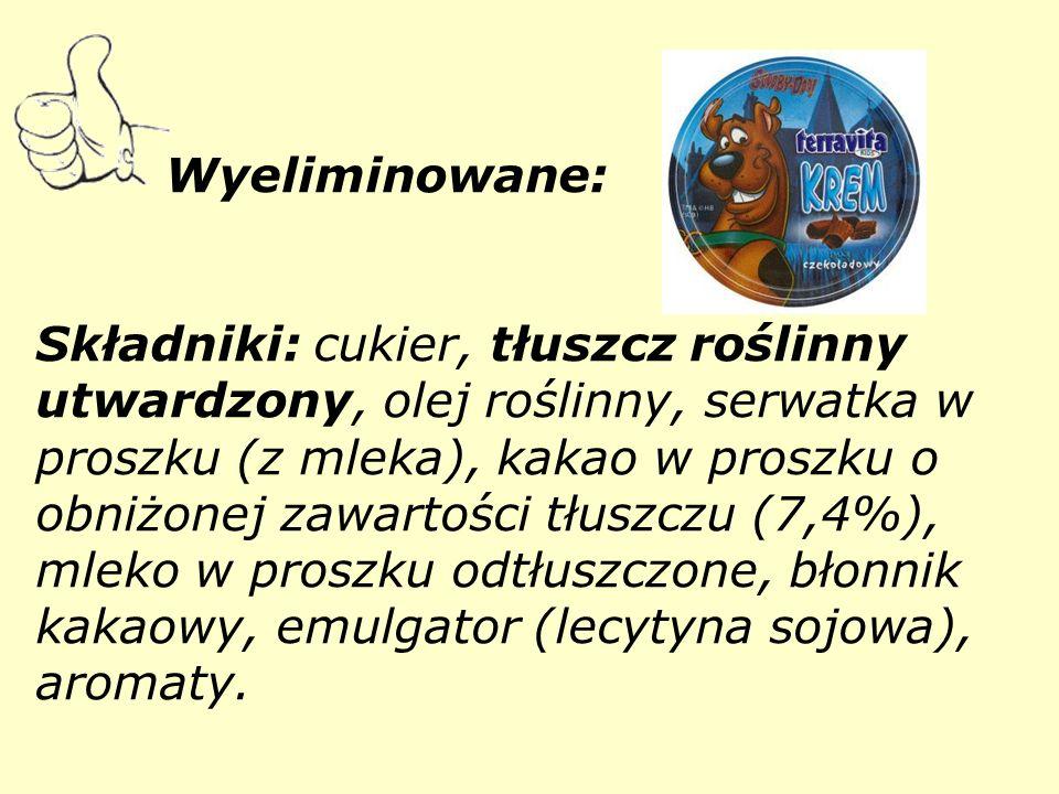 Wyeliminowane: Składniki: cukier, tłuszcz roślinny utwardzony, olej roślinny, serwatka w proszku (z mleka), kakao w proszku o obniżonej zawartości tłuszczu (7,4%), mleko w proszku odtłuszczone, błonnik kakaowy, emulgator (lecytyna sojowa), aromaty.