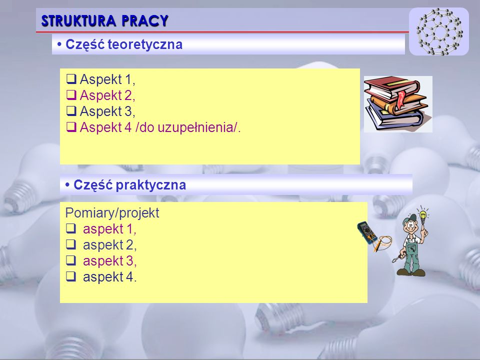 STRUKTURA PRACY • Część teoretyczna Aspekt 1, Aspekt 2, Aspekt 3,