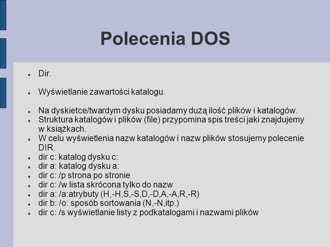 Polecenia DOS Dir. Wyświetlanie zawartości katalogu.