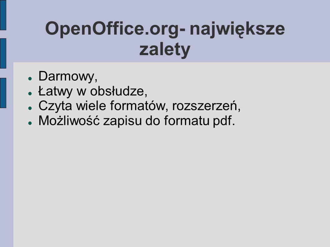 OpenOffice.org- największe zalety