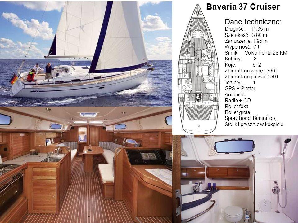 Bavaria 37 Cruiser Dane techniczne: Długość: 11.35 m Szerokość: 3.80 m