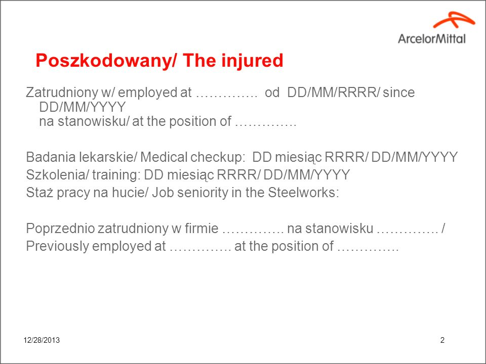 Poszkodowany/ The injured