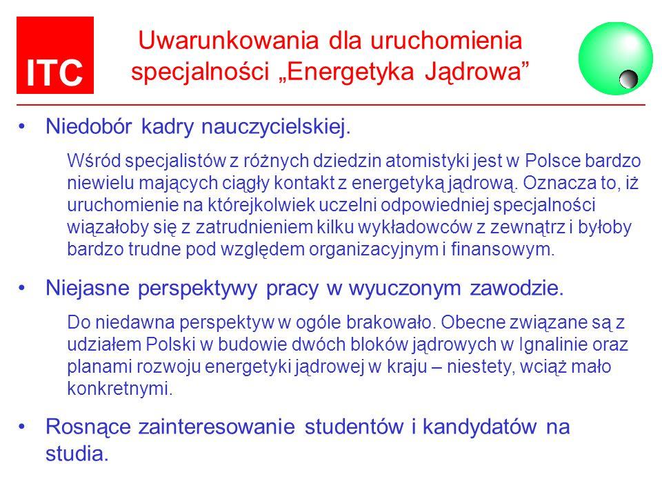 """Uwarunkowania dla uruchomienia specjalności """"Energetyka Jądrowa"""