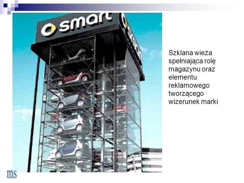 Szklana wieża spełniająca rolę magazynu oraz elementu reklamowego
