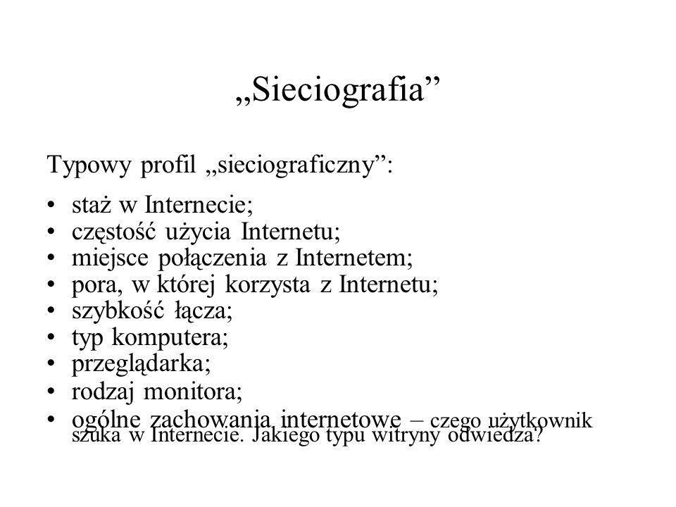 """""""Sieciografia Typowy profil """"sieciograficzny : staż w Internecie;"""