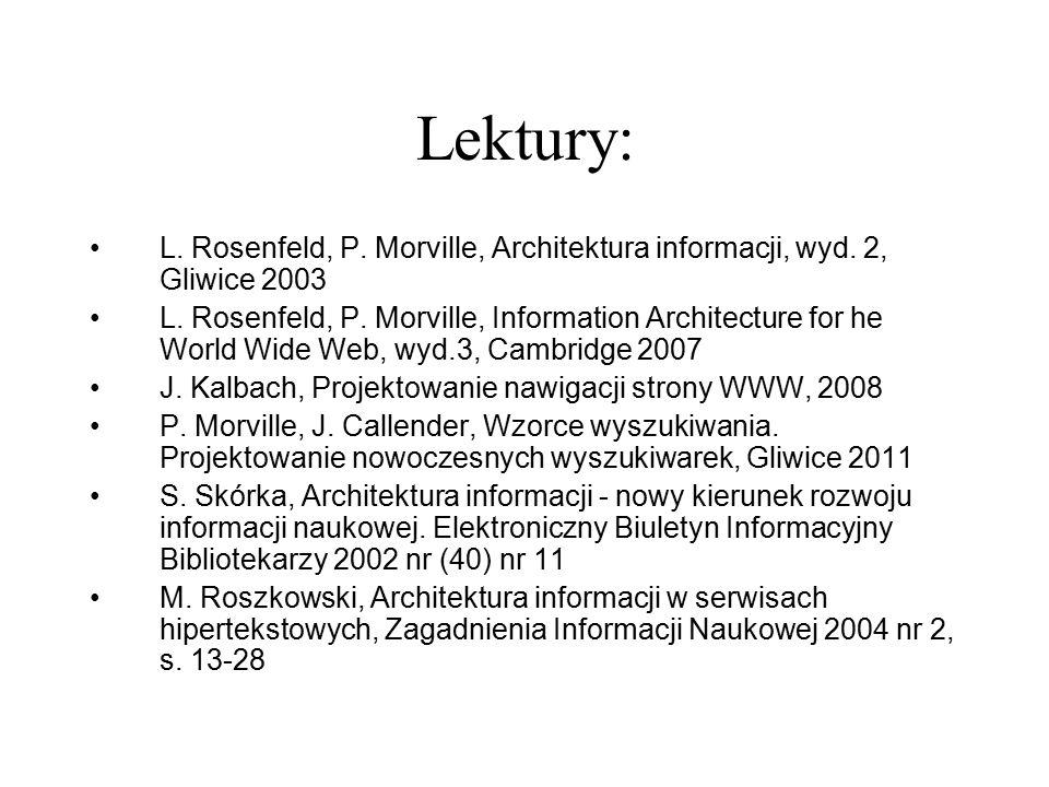 Lektury: L. Rosenfeld, P. Morville, Architektura informacji, wyd. 2, Gliwice 2003.