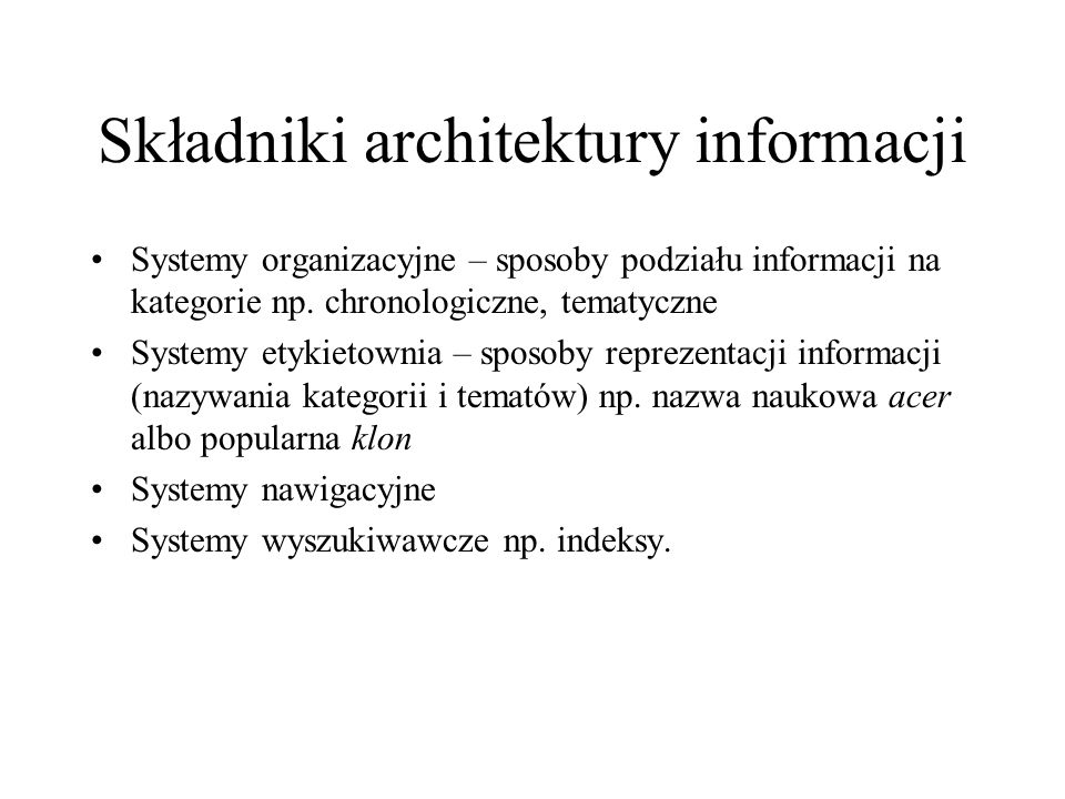 Składniki architektury informacji