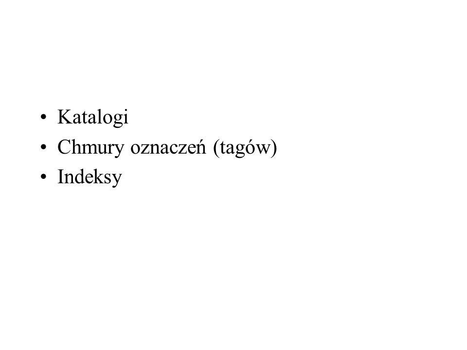Katalogi Chmury oznaczeń (tagów) Indeksy