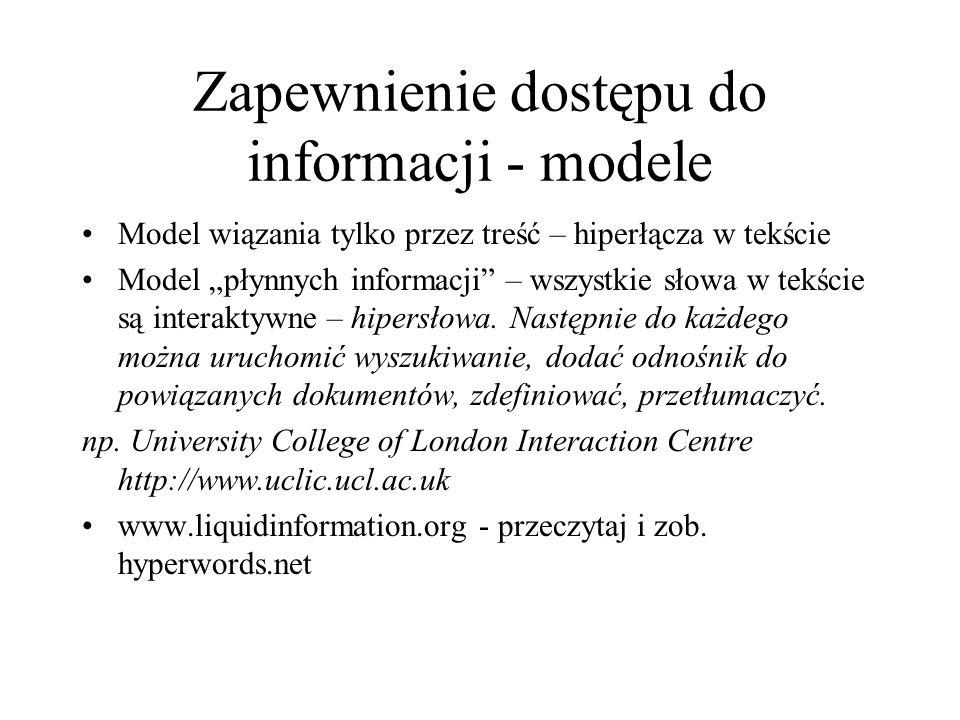 Zapewnienie dostępu do informacji - modele