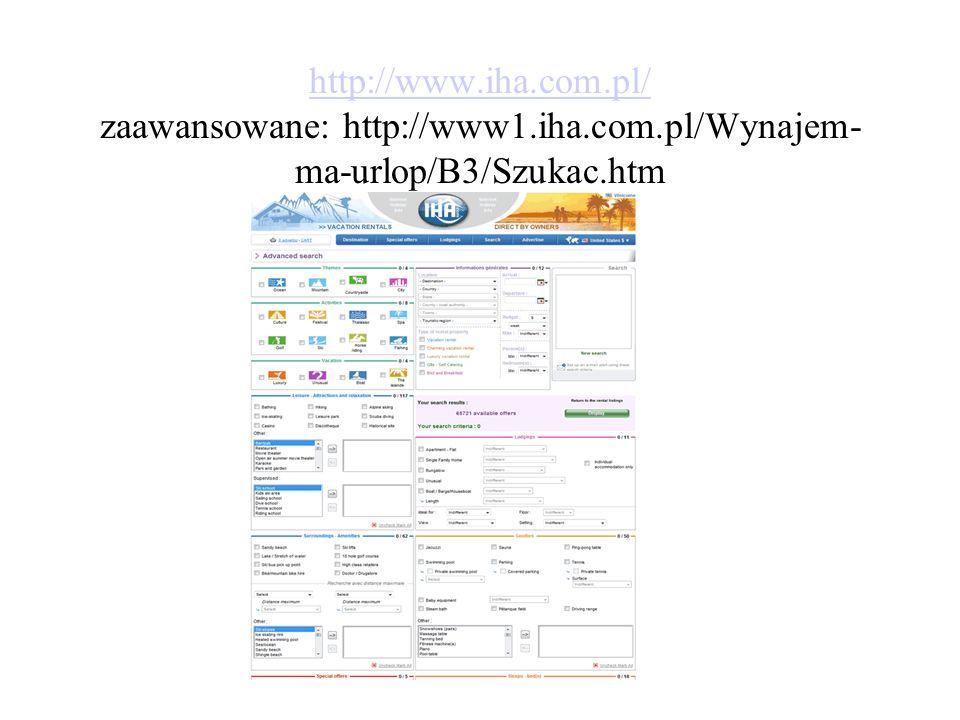 http://www. iha. com. pl/ zaawansowane: http://www1. iha. com
