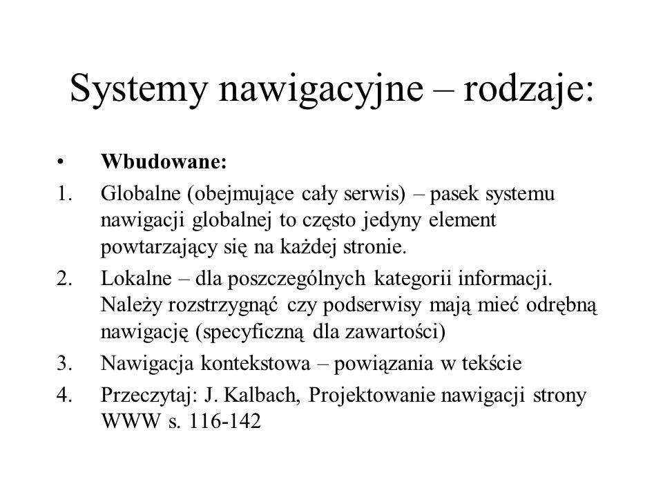 Systemy nawigacyjne – rodzaje:
