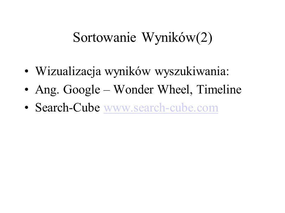 Sortowanie Wyników(2) Wizualizacja wyników wyszukiwania: