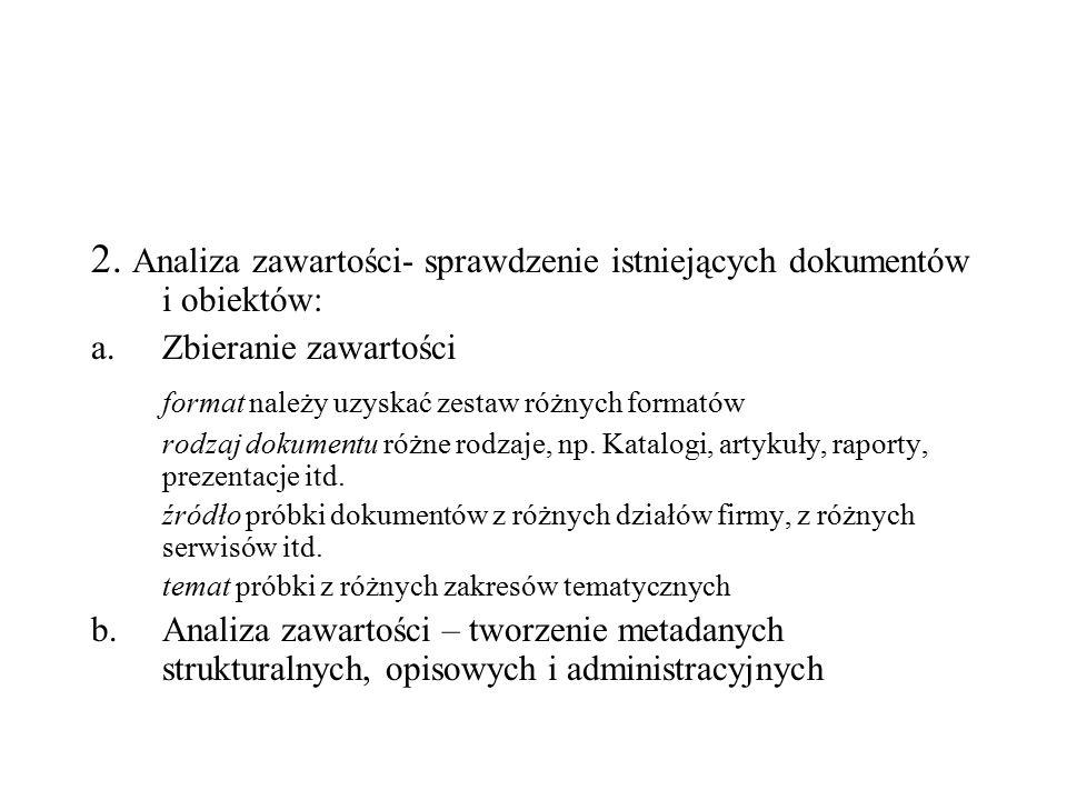 2. Analiza zawartości- sprawdzenie istniejących dokumentów i obiektów: