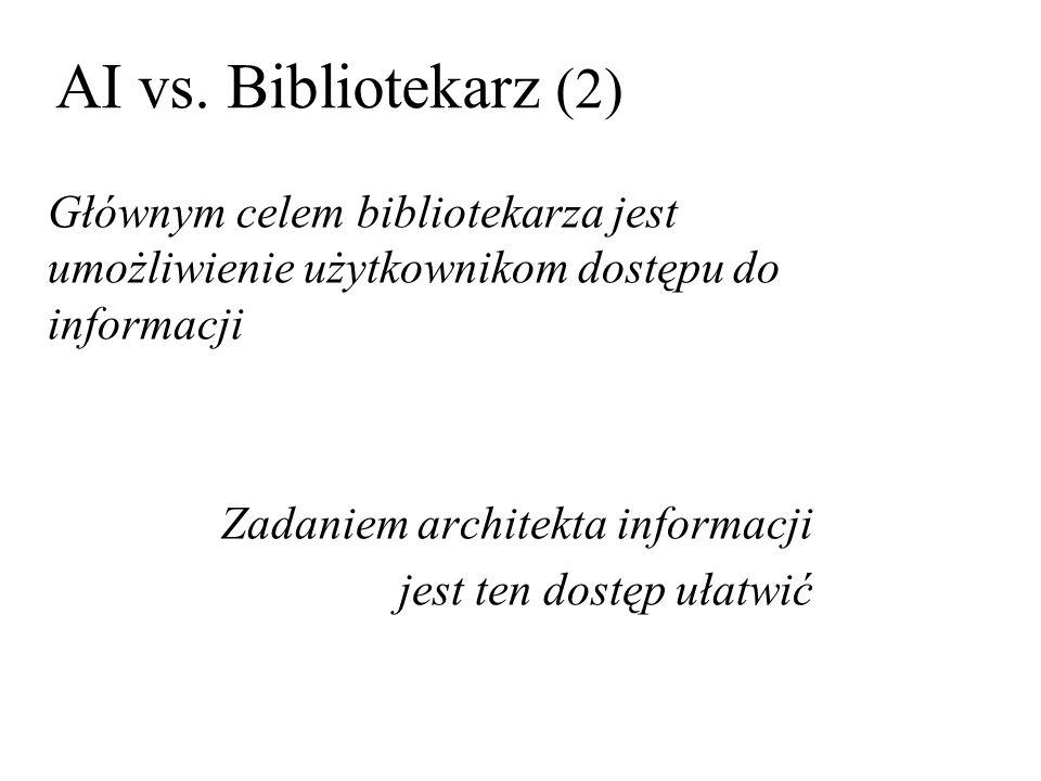 AI vs. Bibliotekarz (2) Głównym celem bibliotekarza jest umożliwienie użytkownikom dostępu do informacji.